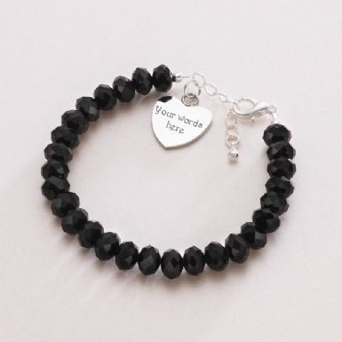 Black Crystal Bracelet with Engraved Heart | Someone Remembered